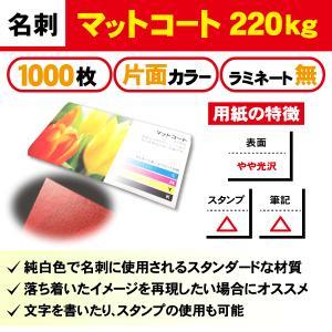 一般名刺 1000枚 片面 マットコート220kg ラミネート無し|goods-pro