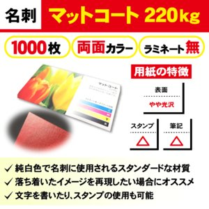 一般名刺 1000枚 両面 マットコート220kg ラミネート無し|goods-pro