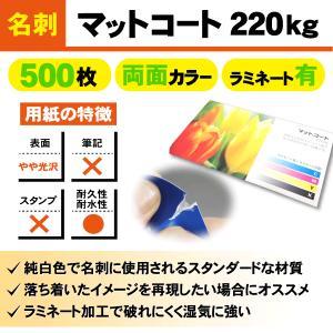 一般名刺 500枚 両面 マットコート220kg ラミネート有り goods-pro