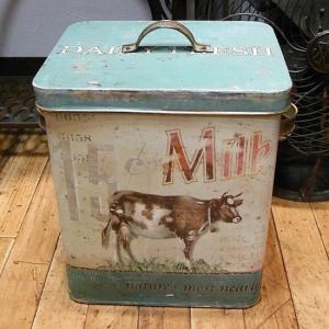 ブリキ缶 ストッカー Milk カントリー雑貨|goodsfarm