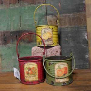 お庭のガーデニングアイテムにおすすめなブリキ缶フルーツポットです。海外のフルーツの缶詰をリメイクした...