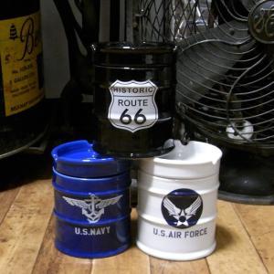 ドラム缶灰皿 アメリカン 卓上灰皿 陶器製灰皿