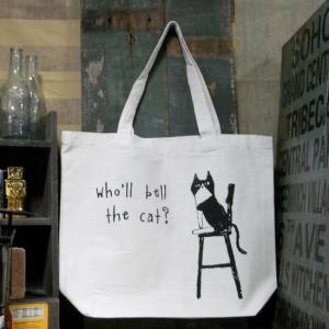 ねこだらけトートバッグ 振り向きキャット 猫 手さげカバン キャンバス トートバッグ