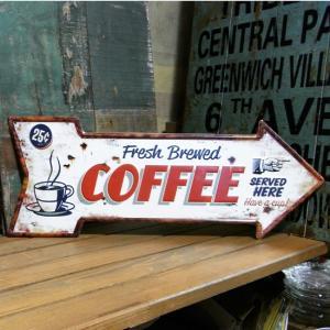 エンボス アロー型 ブリキ看板 COFFEE コーヒー|goodsfarm