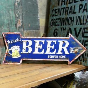 エンボス アロー型 ブリキ看板 BEER ビール|goodsfarm