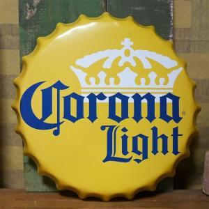 コロナビール 王冠型 ブリキ看板 インテリア ボトルキャップサイン Corona Light アメリカン雑貨 goodsfarm
