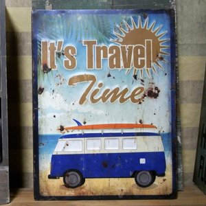 サーフバス エンボス ブリキ看板 It's Travel Time インテリア看板|goodsfarm