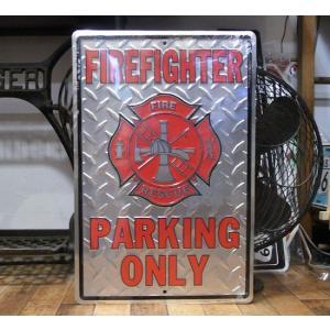 ブリキ看板 消防車 ファイヤファイター インテリア メタルサインプレート アメリカン雑貨|goodsfarm