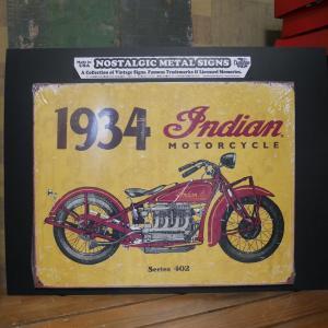 インディアン ブリキ看板 1934 Indian Motorcycle バイク インテリア|goodsfarm