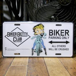 ベティブープ BIKER コマーシャルプレート Betty Boop ブリキ看板 CMプレート|goodsfarm