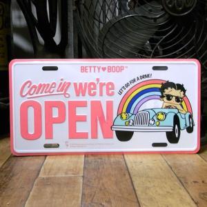 ベティブープ OPEN コマーシャルプレート Betty Boop ブリキ看板 CMプレート|goodsfarm