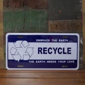 コマーシャルプレート RECYCLE インテリア リサイクル ブリキ看板|goodsfarm