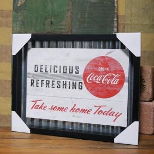 コカコーラ コルゲートフレーム インテリア ブリキ看板 Coca-Cola|goodsfarm