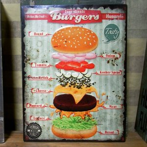 ハンバーガー エンボス ブリキ看板 Burgers インテリア看板 goodsfarm