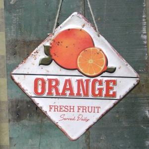 ダイカットカフェサイン オレンジ ブリキ看板 インテリア goodsfarm
