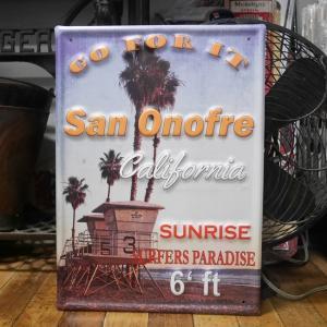 カリフォルニア サインボード SUN ONOFRE ブリキ看板 CALIFORNIA インテリア|goodsfarm