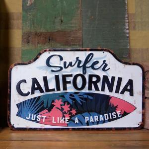 アンティーク エンボス プレート Surfer California ブリキ看板 サーフ インテリア|goodsfarm