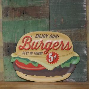 ハンバーガー アンティーク エンボス サインプレート BURGER ブリキ看板 インテリア goodsfarm