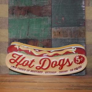 ホットドッグ アンティーク エンボス サインプレート HOT DOGG ブリキ看板 インテリア goodsfarm