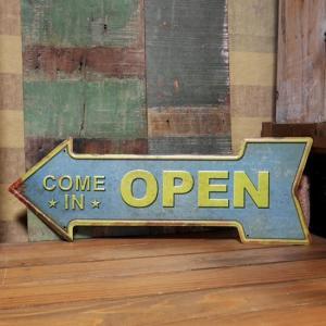 OPEN ブリキ看板 インテリア オープン|goodsfarm