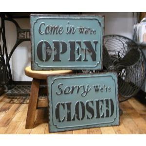 ブリキ看板 オープン クローズ|goodsfarm