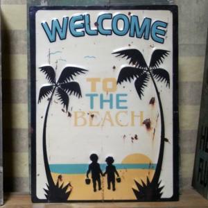 ウェルカム エンボス ブリキ看板 Welcome to the Beach インテリア看板|goodsfarm