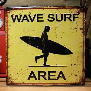 ブリキ看板 サーフィン wave surf area インテリア雑貨 ウェブサーフエリア アメリカン雑貨|goodsfarm