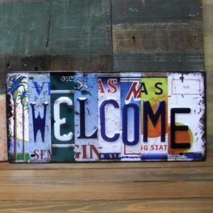 アンティーク エンボスプレート Welcome ナンバープレート ウェルカム|goodsfarm
