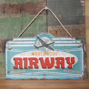 AIRWAY ブリキ看板 インテリア ダイカット レトロデイズプレート ガレージ看板|goodsfarm