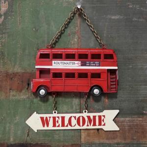 ロンドンバス ダブルデッカー ウェルカムプレート ノスタルジックデコ サイン看板 goodsfarm