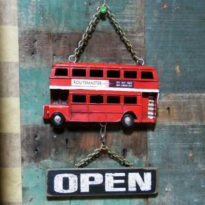 ロンドンバス ダブルデッカー オープン クローズ ノスタルジックデコ サイン看板 goodsfarm