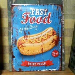 アンティークエンボスプレート Fast Food ホットドッグ ブリキ看板 goodsfarm