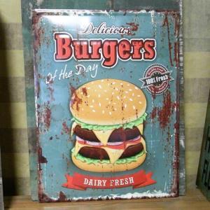 アンティークエンボスプレート Burgers ハンバーガー ブリキ看板 goodsfarm