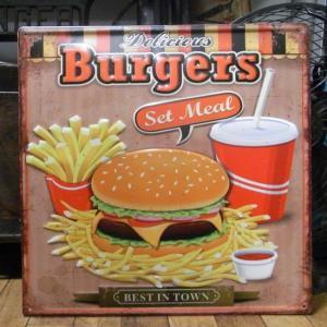ハンバーガー アンティーク エンボスプレート Burgers ブリキ看板 goodsfarm