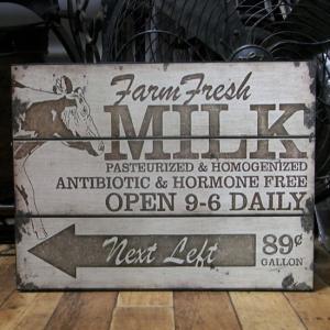 MILK ブリキ看板 レトロ インテリア|goodsfarm