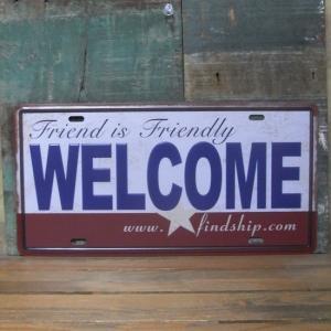 アンティークメタルプレート Welcome ナンバープレート ブリキ看板|goodsfarm