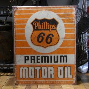 フィリップス66 ブリキ看板 Phillips66 MOTOR OIL インテリア|goodsfarm