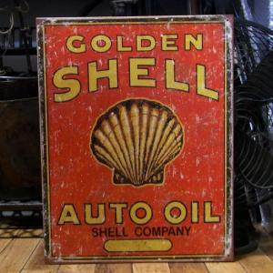 GOLDEN SHELL AUTO OIL ブリキ看板 シェルオイル アメリカン雑貨 インテリア|goodsfarm