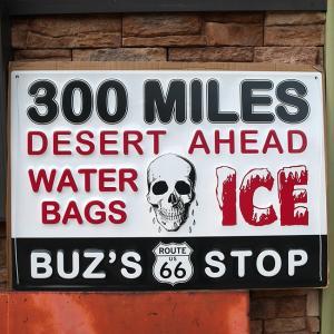 ルート66 エンボス メタルサイン ROUTE66 Emboss Metal Sign 300 MILES インテリア ブリキ看板|goodsfarm