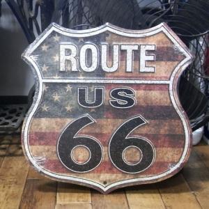 ルート66 ダイカット アルミニウムサイン アメリカンフラッグ 星条旗  ROUTE66 US Flag|goodsfarm