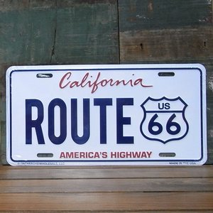 ブリキ看板 ルート66 ライセンスプレート カリフォルニア アメリカン雑貨|goodsfarm