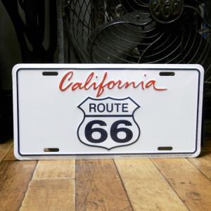 ブリキ看板 ルート66 ライセンスプレート カリフォルニア|goodsfarm