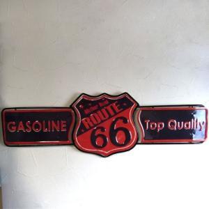 ルート66 ダイカット ブリキ看板 GASOLINE Sign ROUTE66 goodsfarm
