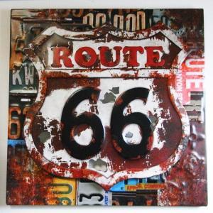 ルート66 エンボス ブリキ看板 ROUTE66 Art Sign goodsfarm