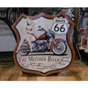 ブリキ看板 ルート66 ピンナップバイク インテリア メタルサインプレート アメリカン雑貨 goodsfarm