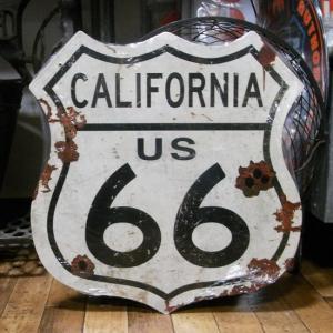 ルート66 スティールサイン California ROUTE66 トラフィックサイン インテリア|goodsfarm