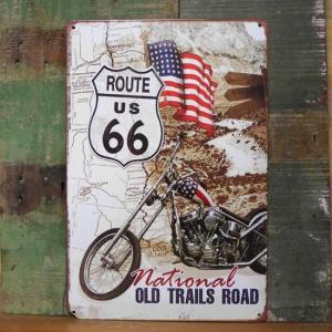 ルート66 ブリキ看板 ROUTE66 チョッパーバイク ティンサイン アメリカン雑貨|goodsfarm