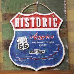 ルート66 HISTORIC America ブリキ看板 インテリア ダイカット レトロデイズプレート|goodsfarm