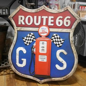 ルート66 GASサイン ブリキ看板 インテリア ガスポンプ ダイカットプレート アメリカン雑貨|goodsfarm