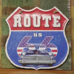 ルート66 ブリキ看板 インテリア ROUTE66 ダイカット レトロデイズプレート アメリカン雑貨|goodsfarm